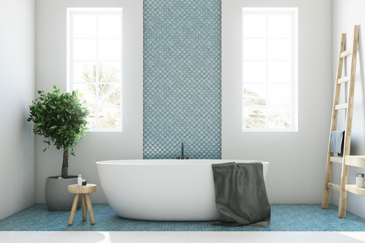 Beautiful Tile Bathroom - Mixed Stone Cleaning & Maintenance Keith Clay Floors